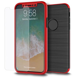 Wholesale Plastic Protectors - For iPhone X 2 In 1 360 Degree Full Body Case Tempered Glass Screen Protector Front Hard PC Back Cover For iPhone 8 7 6 6s Plus Retailbox