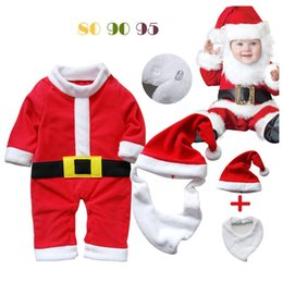Wholesale 12 Red Santa Hat - Wholesale-2015 Christmas Baby Gift Clothes Romper Hat Bib Sets Cute Santa Bebe One-Piece Clothes Fleece Cap Fashion Boys Outfits Free Ship