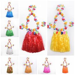 Wholesale Luau Dresses - Tropical Hawaiian Luau Grass Hula Skirt Danceing Skirts Dress for Kids Children Girls Holiday Party Supplies 40cm