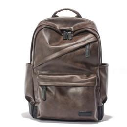 Wholesale Vintage Gym Bags - 20pcs 44*30*16cm Large Capacity Black PU Leather Vintage Outdoor Travel Backpack Student School Bag Rucksack Duffel Bag