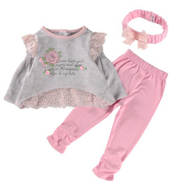 Wholesale Lace Shirt Girl S - New Spring Baby Girl Clothes Set lace shirt+pants+hearwear 3 Pieces 100% Cotton Lovey Baby Flower letter Clothing Good Quality 4 s l
