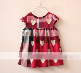 Wholesale Dress Tutu Heart - Wholesale 2016 New Girl Dress Girl Loving Heart Plaid Print Sleeveless Dress Children Clothes 2-7T 15609