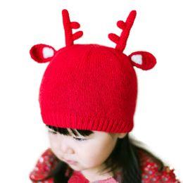 Wholesale Red Childrens Winter Hat - Childrens Christmas Hats,Red Knit Elk Winter Warm Kids Cotton Cap