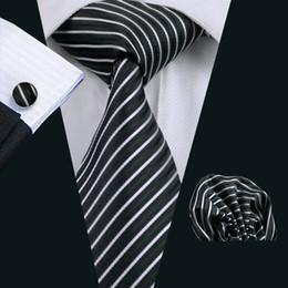 Formal Trabalho Negócios Pessoal de Segurança Da Polícia Preto Branco Stripe Tie Set Hanky Abotoaduras Jacquard Tecido Venda Quente Gravata do Pescoço Conjunto N-0394 de