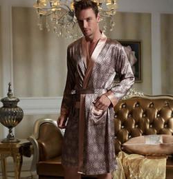 Wholesale xl bathrobe - 2017 New style men bathrobe silk satin robes V neck imitation silk sleepwear full sleeve nightwear 20505