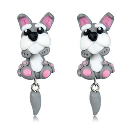 Wholesale Fashion Cheap Handmade Earrings - Creative Fashion Cute Animal Stud Earrings For Women Little Girls Children Handmade Cheap Polymer Clay Cartoon Hoop Earrings Hot Sale
