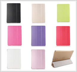 Wholesale Ipad Hard Back - 3 Fold Silk Patten Slim Flip Smart Case Cover Transparent Back Hard PC For iPad 2 3 4 5 5 Air Air2 Mini Mini2 Mini3 With Sleep Wake Stand