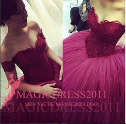 Wholesale Sweetheart Princess Prom Dresses - Princess Dark Red Prom Dresses Backless Long Formal Evening Gowns 2015 Occasion Dress Ball Gown Off-Shoulder Appliques Party Celebrity
