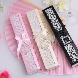 Wholesale Box Wedding Bridal - 120PCS Luxurious Silk hand Fan in Elegant Gift Box wedding bridal shower favor party gift Free shipping #FD-86