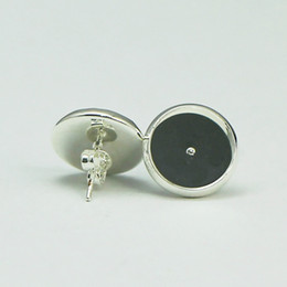 Wholesale Earrings Blanks - Beadsnice stud earring base in silver plated coler round stud earring blank bezel earring trays fit 12mm cabochons or resin ID 8266