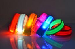 Wholesale Luminous Bangles - LED Flashing Wristbands Cycling Safety Bracelets Lights Flashing Glow Wristbands Outdoor Sports Luminous Reflective Lattice Armbands