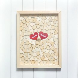 Wholesale Guestbook Heart - Wholesale-Personalised Wedding guest book alternative wood Heart Guest book Custom Drop Top Guestbook