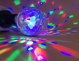Wholesale E27 Colorful Rotating - Hot Sale 6W E27 110v 220v Colorful Auto Rotating RGB Crystal Stage Light Magic double Balls DJ party disco effect Bulb Lamp LLFA