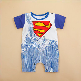 Wholesale Superman Romper Long Sleeve - 2016 New Fashion Summer Newborn Boy Romper Baby Infant Clothing Superman Batman Cotton Romper Boys Clothes