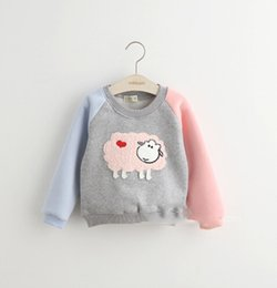 Wholesale Girl Shirts Wool - Wholesale-Children's Lovely T-shirt New winter children's clothing color matching girls wool Hoody girl casual style fleeces