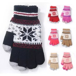 Wholesale Gloves For Iphone - Capacitive Touch Screen Gloves Snowflake Knitted Unisex Winter Warm for Smart Phone Tablet iPhone 6S Samsung Christmas Gifts