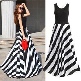 Wholesale Stripes Evening Dress - S5Q Beach Chiffon Summer Dresses Long Stripe Sexy Boho Maxi Evening Party Dress For Women AAADOR