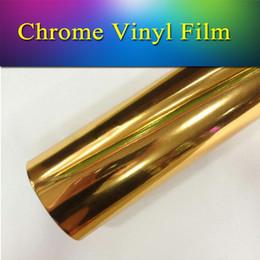 Wholesale Chrome Vehicle Wrap - Good quality vehicle wrap vinyl film stronge stretchble chrome vinyl film wrap mirror Glod 1.52x20m(5x65ft) free shipping