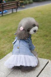 Wholesale Dog Girl Clothing - A34 dog winter denim dress for pet girls for 2 legs pet clothing pet dog winter clothes dog winter dress