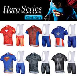 Wholesale Spiderman Short Sleeve Cycling Jersey - 2014 Iron man Superman Spiderman Bat man cycling jersey short sleeve + bib shorts suit mountain bike tight ropa ciclismo