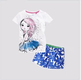 Wholesale Cartoon Girls Beautiful Clothes - Cute Girl Summer Clothes Short Sleeve Cartoon Beautiful Girl T-shirt Tops+Blue Floral Shorts 2pcs Set Kids Outfits Children Fashion Suit