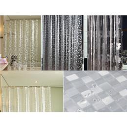 Wholesale Modern Pattern Curtains - PEVA 3D Chrysanthemum Pebble Mosaics Pattern Translucence Waterproof Shower Curtains 3D Curtains Bathroom Products 180 * 180CM