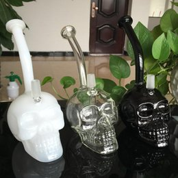 Wholesale Skeleton Glasses - Recycler Oil Rigs Glass Bongs Water Pipes Skull Hookah Funny Face 3 colors available Glass Transparent Skeleton Hookahs WP070