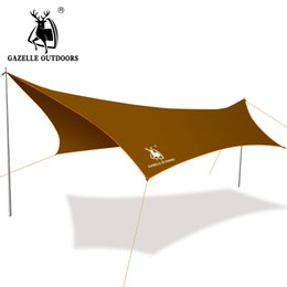 Wholesale Iron Tent - Wholesale- 300cm * 400cm Iron Poles Anti UV Ultralight Camping Sun Shelter Waterproof Beach Tent Awning Canopy 190T Terylene