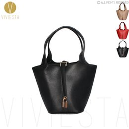 Wholesale Brown Bucket Handbags - Wholesale-KEY LOCK MINI BUCKET TOTE - Women's Famous Brand Designer Inspired PU Leather Top Handle Basket Shopping Shopper Bag Handbag