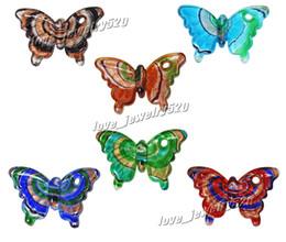 Wholesale Butterfly Murano Glass Pendants - Pendant jewelry Wholesale Animal Butterfly Bulk Italian venetian handmade Murano glass bead pendants DIY necklaces 24pcs