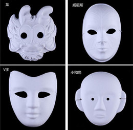 Wholesale Paint Ball Masks - White Half Face Mask Halloween blank paper ball Hand painted Mask DIY pulp Hip-Hop mask Hand-painted masks street dancing Christmas gifts