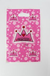 Wholesale Princess Party Theme Decorations - Wholesale- 12pcs Loot Bag for Kids Birthday festival Party Decoration Crown Princess Theme Party Supplies Candy Bag Shopping Gift Bag