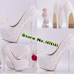Wholesale Cheap Beautiful Shoes - Wholesale-New Bride shoes ! White beautiful Vogue Beaded High Heels Wedding Bridal Shoes 14 CM Prom Evening Shoes Free shipping Cheap Z237