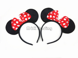 Wholesale Minnie Party Supplies - 2017 Halloween Party Hairbands Lovely Minnie Mouse Girl Headbands Big Red Bow Tie Party Supplies 20pcs lot
