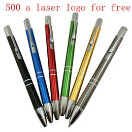 Wholesale Ballpoint Logo - Custom office metal press advertisement pen ball-point pen aluminum rod pen custom logo can be printed
