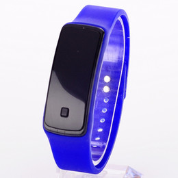 Wholesale Touch Screen Led Round Watch - 100 Pieces Led Sunglasses Style Digital Display Touch Screen Watch Rubber Belt Silicone Bracelet Sports WristWatches