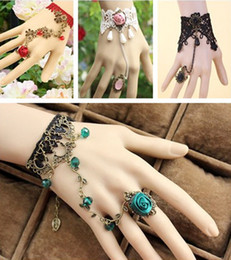 Wholesale Gothic Bracelets Rings - Elegant Lace Lady Bridal Accessories Wedding Party Gothic Ring Bracelet Cuffs Bangle Bridal Jewelry Christmas Gift