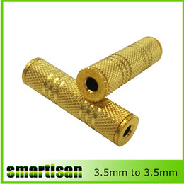 Wholesale F Rca Adapter - 3.5mm Female to 3.5 mm Female F F Audio Adapter Coupler Metal Gold Plated