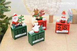 Wholesale Number Indicator - Merry Christmas Wooden Calendar Santa Claus Reindeer model Wood cube number DIY Calendars Craft desk decoration Indicator Board