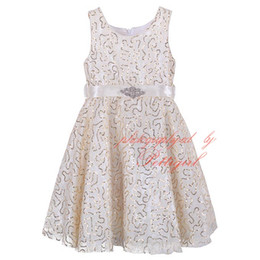 Wholesale Girls Stripped Tutu Dress - Pettigirl Hot Sales Girls Dress With Sash Stylish White Kids Party Dresses Printed With Gold Flower Strip Wholesale Child Wear GD81218-1