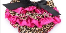 Wholesale Leopard Pink Bloomers - Wholesale-Brown And Leopard Bow Decorate Mid Ruffle Baby Bloomer For Infants 0-24 Months Drawstring Shorts Baby PP Pants, Diaper Covers