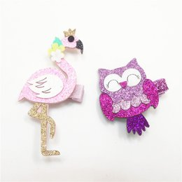 Wholesale Animal Barrettes - 20pcs  Lot Sparkly Pink Flamingo Girls Hair Clip Hot Pink Glitter Smiley Owl Christmas Hair Barrette Fashion Bird Animal Hairpin Gift
