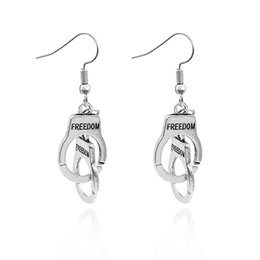 Wholesale Dangle Ear Cuffs - New Letter Freedom Handcuff Earrings Mini Handcuffs Dangle Earrings Ear Cuff for Women Fashion Jewelry 170885