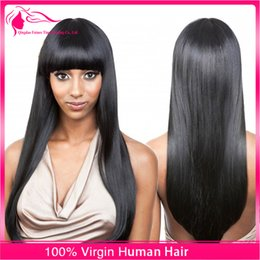 Wholesale Wig Fringes - Full Lace Wig Lace Front Wig 9A Brazilian Silky Straight Hair Wigs With Full Fringe Bangs For Black Woman 130% Density Natural Hairline