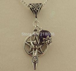 Wholesale Wholesale Goddess Pendants - 10PCS Vintage Silvers Goddess & Pentagram Amethyst Charms Choker Sweaters Chain Statement Necklaces&Pendants Jewelry L629