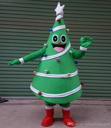 Wholesale Christmas Plus Size Outfits - Hot Christmas Tree Mascot Costume Fancy Party Dress Outfit Adult Size Free Ship with high quality