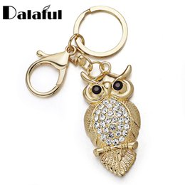 Wholesale Owl Ring Holder - beijia Unique Owl Key Chains Rings Holder Delicate Purse Bag Buckle Pendant For Car Keyrings KeyChains K293