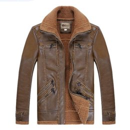 Wholesale Leather Pilot Jacket For Men - Fall-Wholesale Free shipping 2015 Men's brand the pilot fur lamb flocking air force thickening leather jacket coat Jackets for men