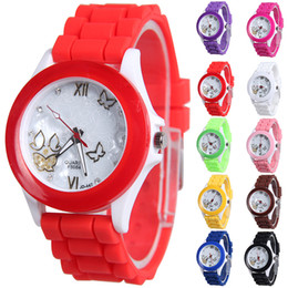 Wholesale Jelly Watches Designer Brands - New Fashion Designer Geneva Ladies sports brand silicone watch jelly watch 12 colors Quartz Watch for women relojes mujer