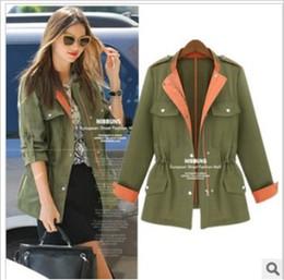 Wholesale Gossip Girl Style Coat - Wholesale-New 2015 Women Army Green British style Casual Coat Jacket women Fashion Gossip Girl Outwear coat cape plus size free shipping
